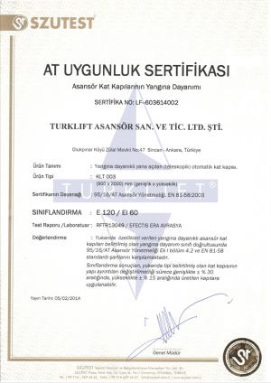 Turklift Asansör yangına dayanıklıllık asansör kat kapısı E 120-EI60-